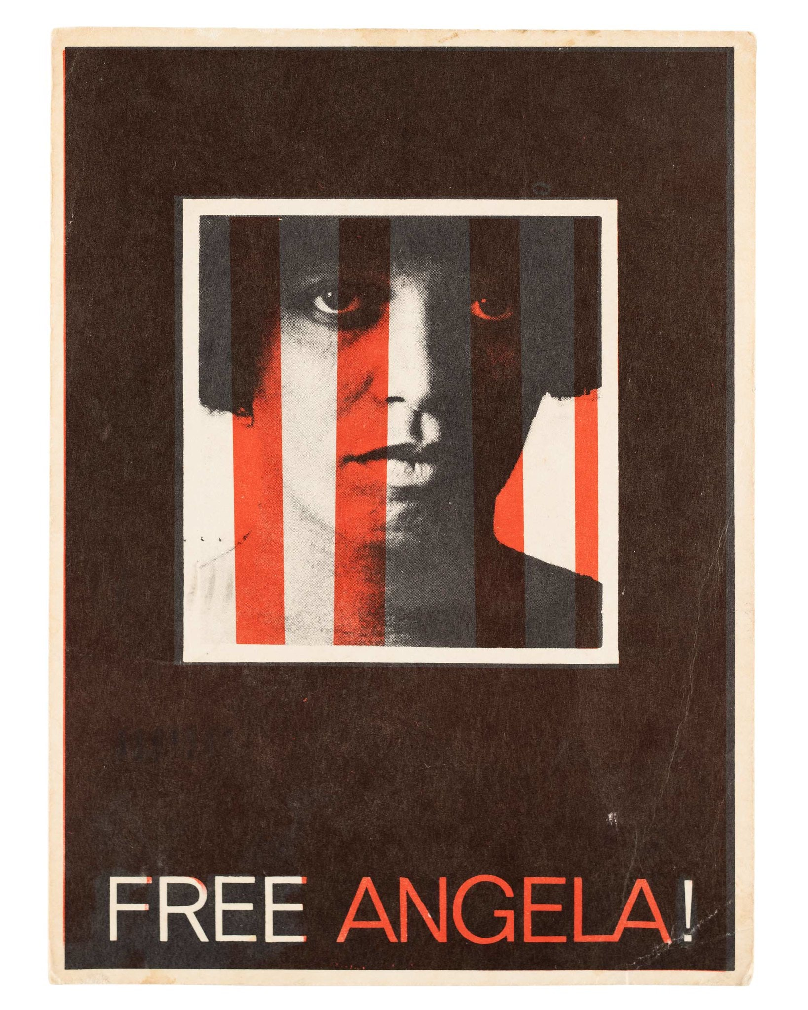 """Postcard with text """"Free Angela!"""" Image is of Angela Davis' face with red stripes vertically."""