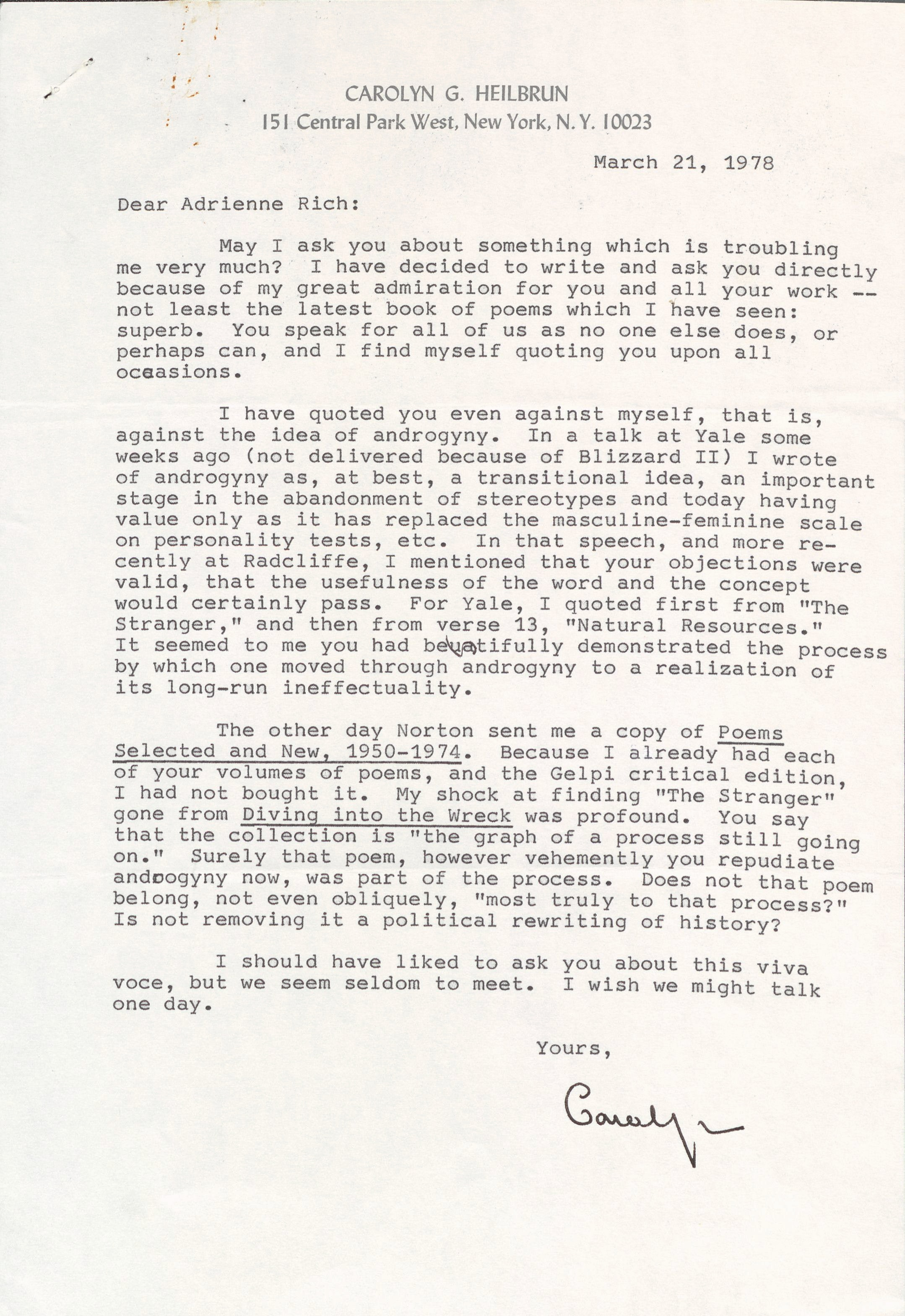 Letter to Adrienne Rich