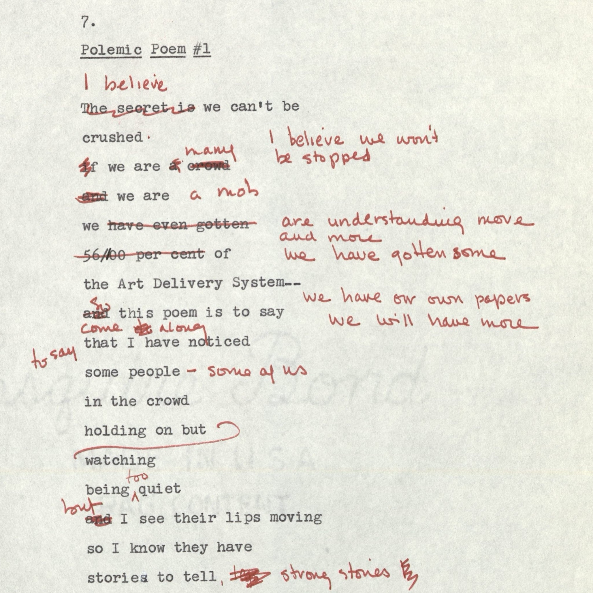 Annotated poem by Honor Moore