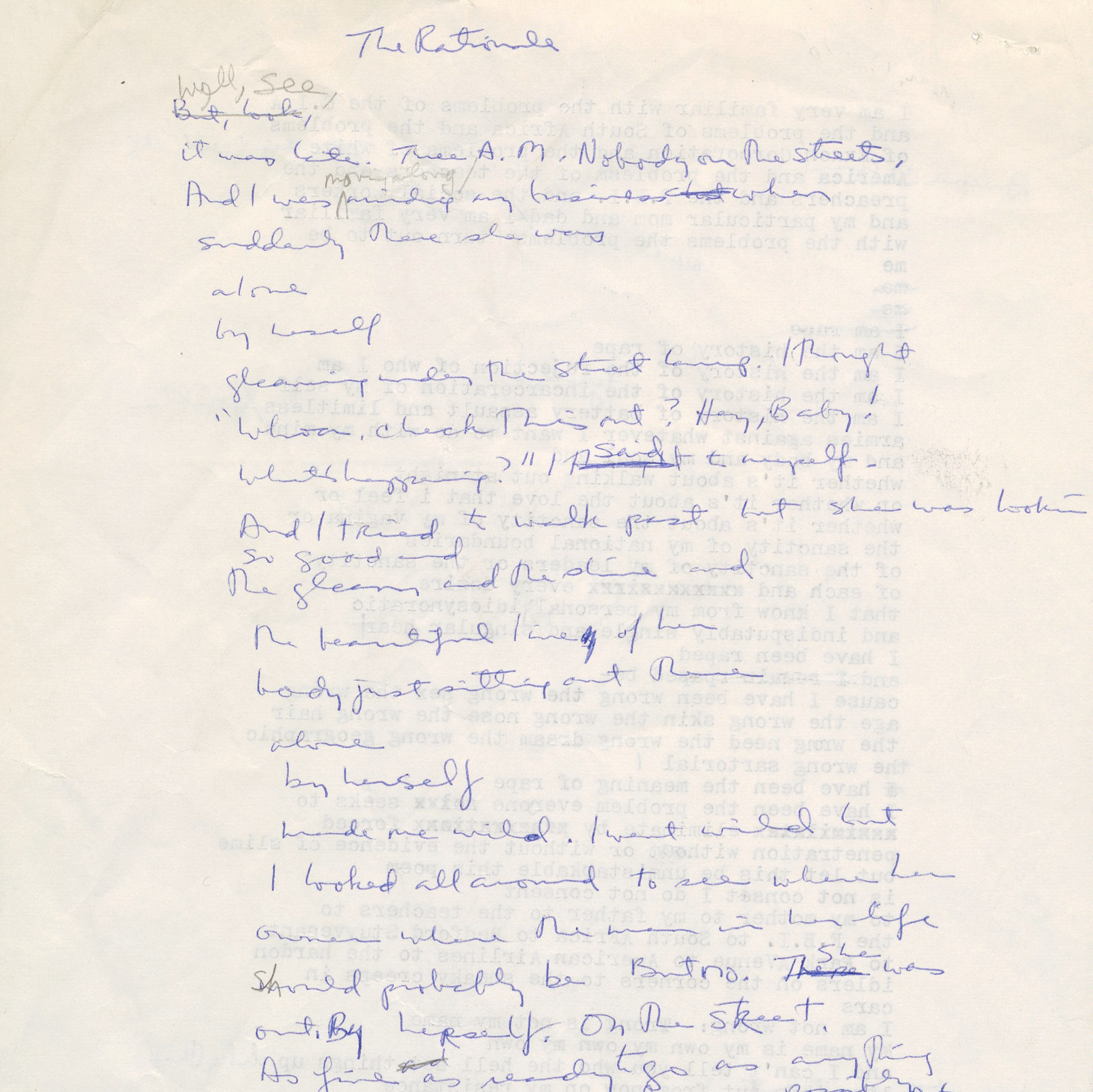 First draft of poem by June Jordan