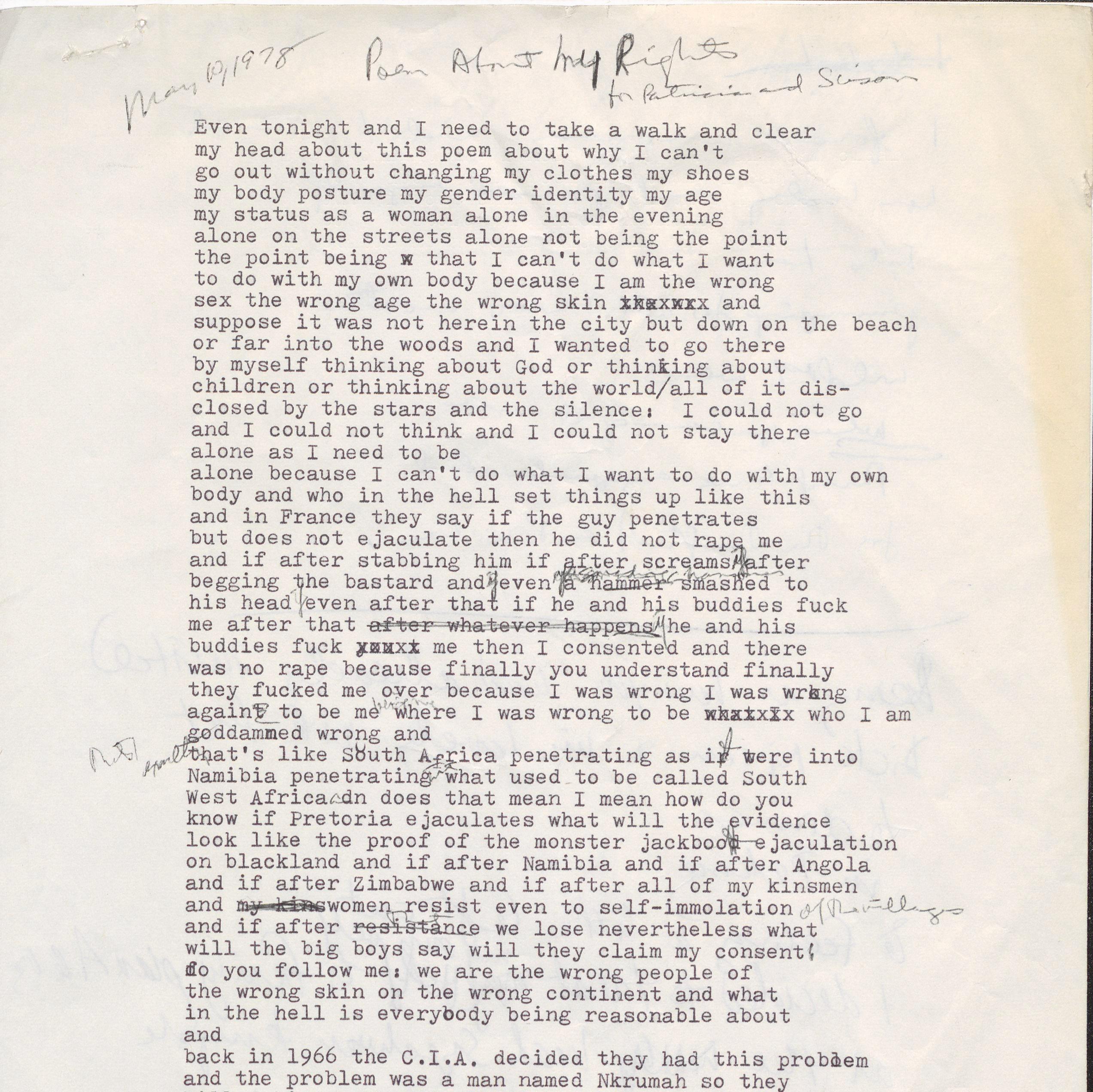Annotated poem by June Jordan