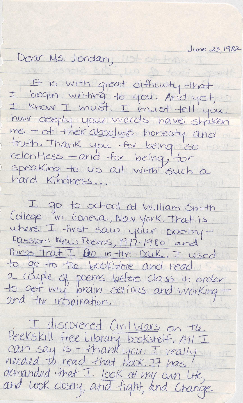 Letter to June Jordan