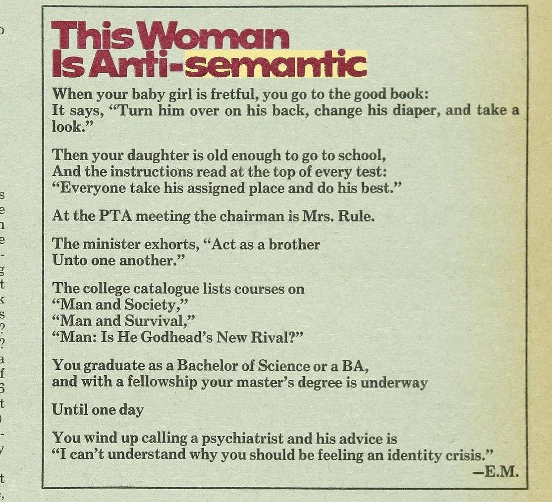 Eve Merriam poem in Ladies Home Journal