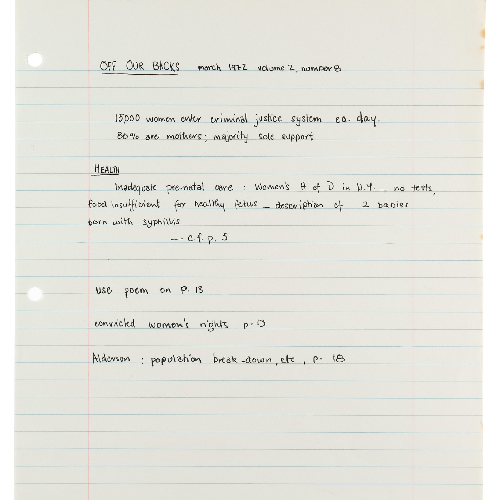 Handwritten notes on white lined paper.