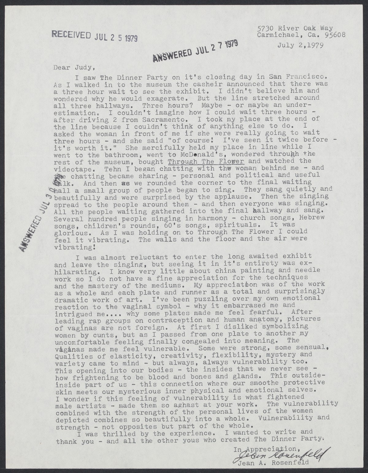 Letter to Judy Chicago