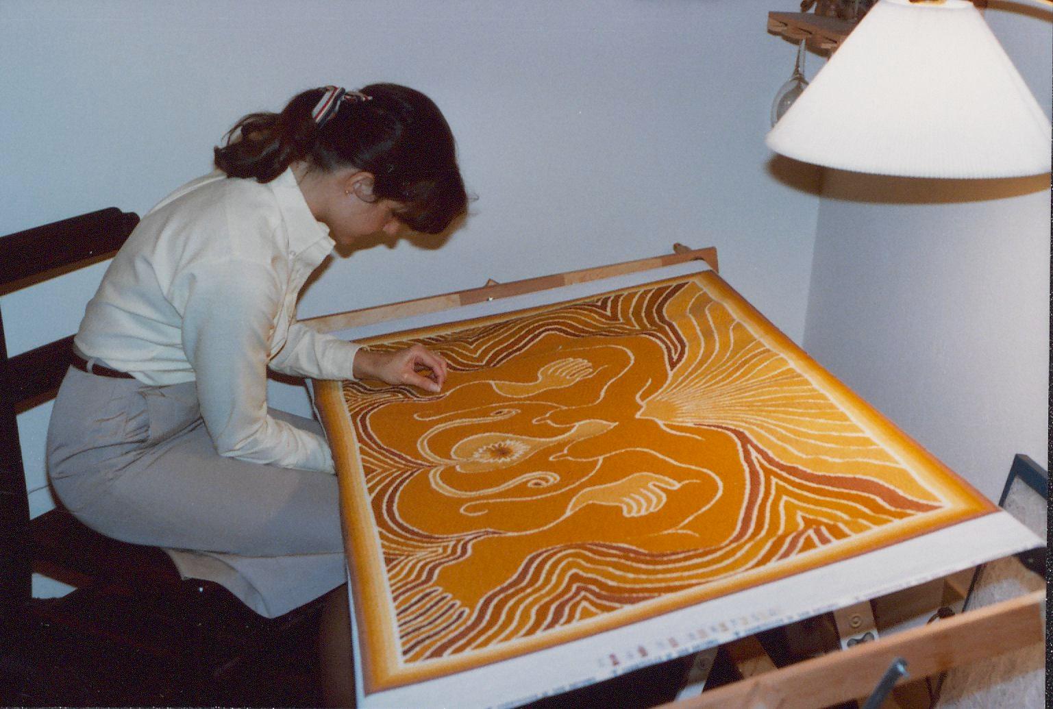 Kathi Haas needlepointing