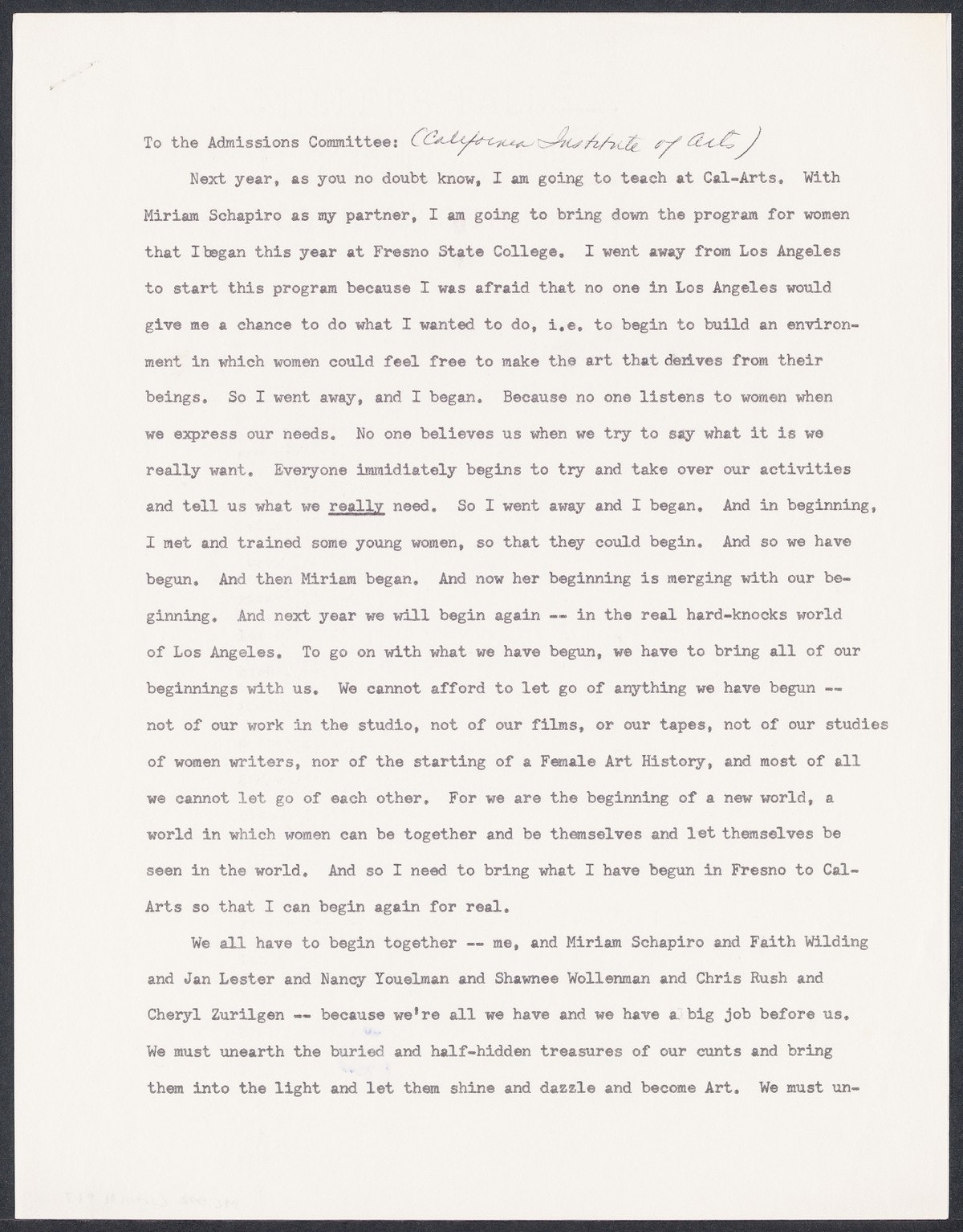 Letter from Judy Chicago