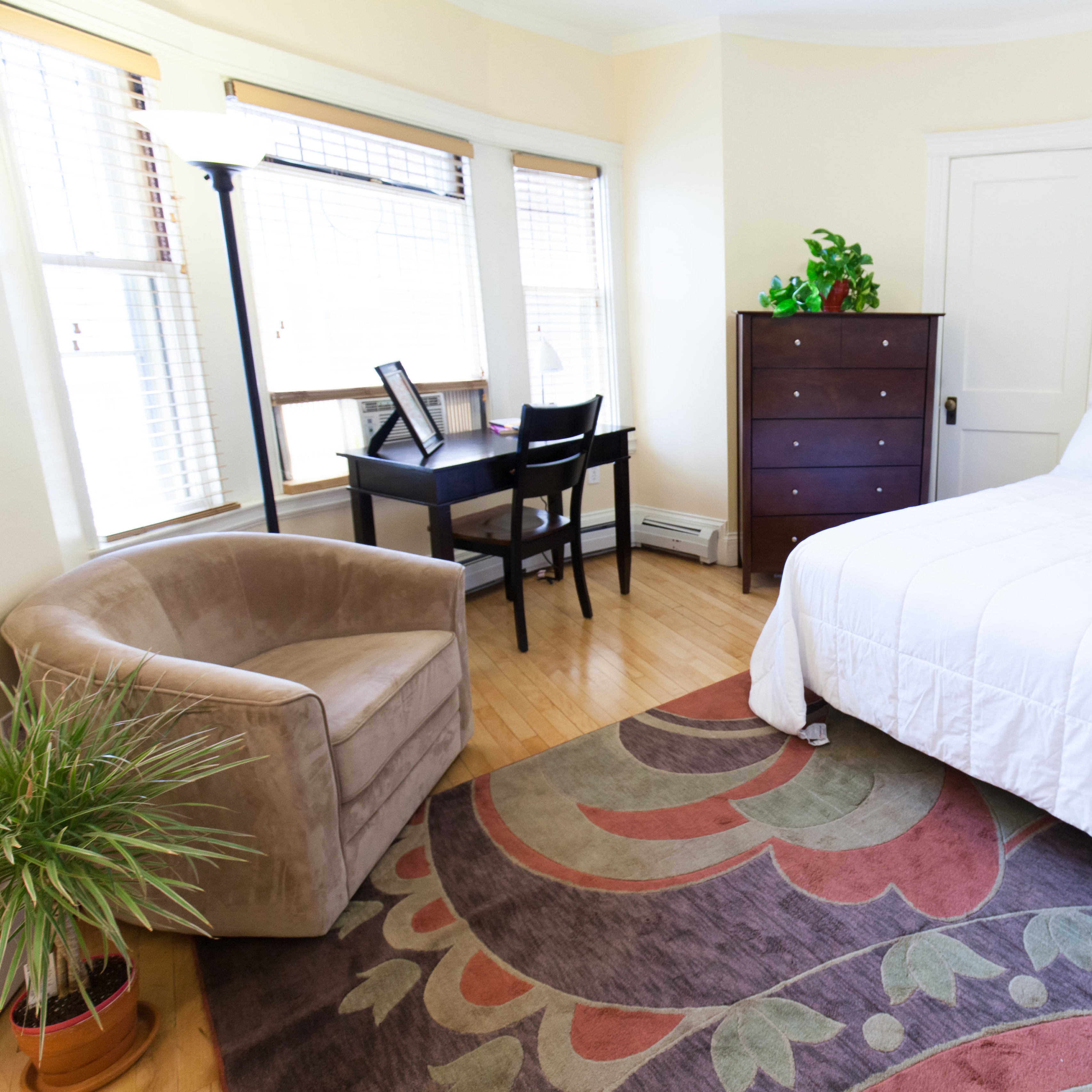 Living space of 83 Brattle Street studio apartment with bed, couch, desk, chair, rug, lamp, and dresser.