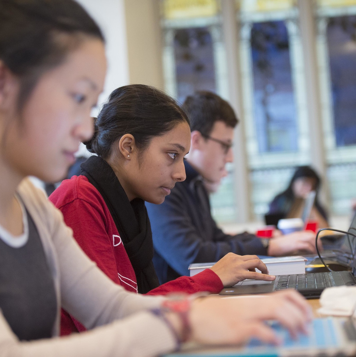 Harvard College students working at Schlesinger Library